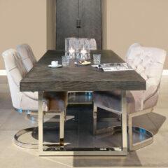 Richmond Interiors Richmond Uitschuifbare Eettafel 'Blackbone' kleur Zwart / Zilver, 195 - 265 x 100cm
