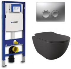 Douche Concurrent Geberit UP 100 toiletset - Inbouw WC Wandcloset - Creavit Mat Antraciet Rimfree Geberit Delta-21 Mat Chroom
