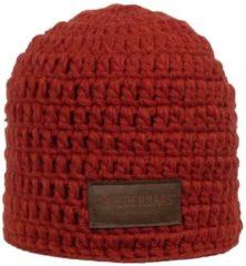 Bordeauxrode Poederbaas muts rood met fleece aan binnenzijde, skimuts, wintersport muts, skimuts voor dames