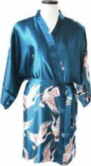 TA-HWA Korte Kimono met Kraanvogels Turquoise Dames Nachtmode kimono S