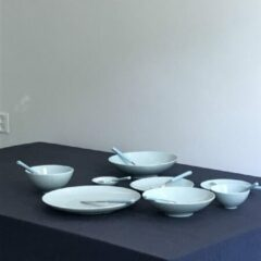 Lichtblauwe Loveramics Dinerbord Studio Celadon Blue 28 centimeter, 2 stuks