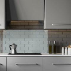 Relaxdays keuken achterwand glas - spatbescherming - glazen spatscherm kookplaat 90 cm 90x60 cm