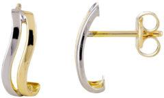 Zilveren Glow oorknoppen - halve oorringen - curve - geelgoud - witgoud