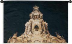 1001Tapestries Wandkleed Frauenkirche Dresden - Frauenkirche in Dresden met een zwarte achtergrond Wandkleed katoen 60x40 cm - Wandtapijt met foto