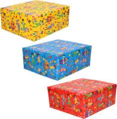 3x Rollen inpakpapier/cadeaupapier Club van Sinterklaas rood/blauw/geel 200 - Cadeaupapier/inpakpapier voor 5 december pakjesavond