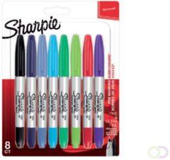 Sharpie permanente marker twin tip, blister van 8 stuks in geassorteerde kleuren