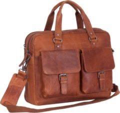 Chesterfield Leren Laptoptas Businessbag George Wax Pull Up Cognac