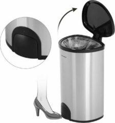 Roestvrijstalen Songmics Trash Can RVS Prullenbak - Elektrische Pedaal Emmer - 50 Liter