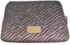 Bruine Kinmac – Laptop Sleeve met Zebraprint tot 13 inch – 35 x 24,5 x 1,5 cm - Bruin