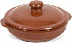 Merkloos / Sans marque 2x Stenen ovenschalen met deksel bruin/ terracotta 13 cm - Terracotta ovenschalen/stoofpotten