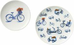 Rode Heinen Delfts Blauw Wandborden set van 2 - fiets - tulpen - sierbord - typisch Nederlands - woondecoratie - wanddecoratie - woonaccessoire - VT wonen - Delfts blauw - bord aan de muur - Incl. bevestigingsmateriaal - Cadeau voor vrouw
