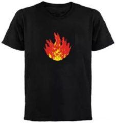 Zwarte Merkloos / Sans marque LED - T-SHIRT - Equalizer - Vuur - L