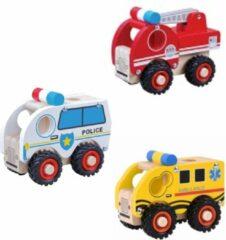 Rode Playwood 112 Auto rubber wielen Ambulance-Brandweer en Politie u krijgt 3 assorti geleverd