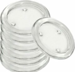 Transparante Trend Candles 25x Ronde kaarsenhouders/kaars onderzetters van glas 14 cm - Glazen kaarsenhouders voor stompkaarsen tot 10 cm doorsnede - Woondecoraties