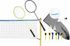 Blauwe Scatch volleybal- en badmintonset - met net, rackets, shuttles en bal - draagtas - 310 x 168 centimeter