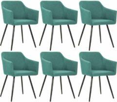 Merkloos / Sans marque Moderne Eetkamerstoelen Groen set van 6 STUKS Stof / Eetkamer stoelen / Extra stoelen voor huiskamer / Dineerstoelen / Tafelstoelen / Barstoelen / Huiskamer stoelen
