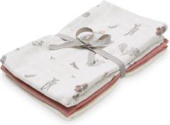 Roze Cam Cam Camcam hydrofiele doeken set van drie Fawn, Berry, Creme White 70x70cm