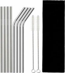Zilveren Sarzor - 8 stalen rvs rietjes - 2 schoonmaak borstels