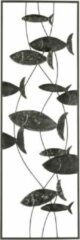 J-Line Metalen wanddecoratie Vissen met cirkels grijs