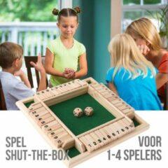 Beige Allernieuwste Shut the box - Dobbelspel - 1 - 4 spelers - Houten Bordspel - Drankspel - Denkspel - Gezelschapsspel voor volwassenen en kinderen