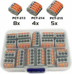 Oranje DW4Trading® Assortimentdoos lasklemmen connectors 17 delig 3, 4 en 5 voudig
