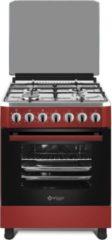 Wiggo WO-E605R(RX) Serie 5 - Gasfornuis - Rood Rvs