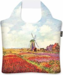 Blauwe Ecozz - Draagtas opvouwbaar met rits - Tulip Fields in Holland - Claude Monet
