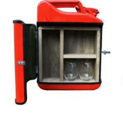Designed By Man Jerrycan Gin Bar 20L - Rood - Gin - Mobiele Bar - Metaal - Cadeau