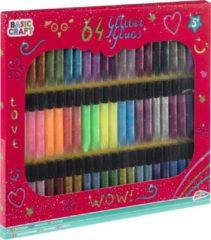 Merkloos / Sans marque 64x Hobby/knutsel glitter lijm stiften - Glitterlijm flacons - Creatief speelgoed - Hobby/knutselmateriaal