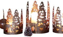 3er Set Kerzenhalter kupfer antik