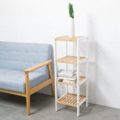 Witte Decopatent® Opbergrek van bamboe hout - Badkamerrek - Schoenenrek - Keukenrek - Opbergkast - 4 etages - Keuken rek - 33x33x98 Cm