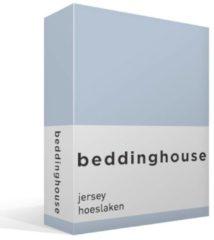 Blauwe Beddinghouse Jersey Hoeslaken - 100% Gebreide Jersey Katoen - Lits-jumeaux (180x200/220 Cm) - Light Blue