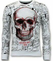 Witte Sweater Enos Sweater Met Print - Doodskop Crewneck