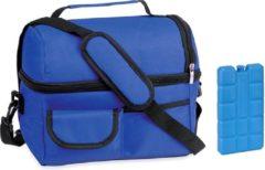 Masha Koeltas met schouderband- 9 Liter- blauw- inclusief gratis koelelement