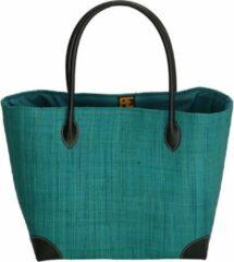 PE Florence Vrolijke rieten strandtas, turquoise
