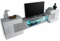 Pesaro Mobilia Tv-meubel Incastro 61 cm hoog in hoogglans wit met grijs beton