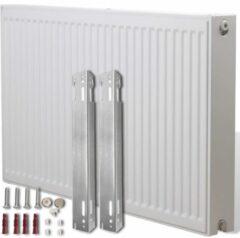 Witte VidaXL Compacte Convectorradiator met zij-aansluiting 120 x 10 x 60 cm