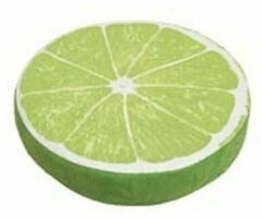 Groene Kussen limoen schijf 38 cm - Fruit thema sierkussens