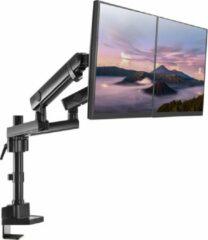 Zwarte Maclean Brackets Bureauhouder voor 2 LCD LED-monitoren Monitorstandaard MC-812 flat panel steun