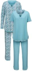 Schlafanzug Harmony blau meliert/ecru/blush
