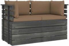 Taupe VidaXL Tuinbank 2-zits met kussens pallet massief grenenhout