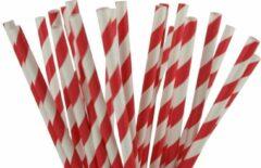 Joyenco Papieren rietjes rood gestreept - 50 stuks - duurzaam, 100% composteerbaar