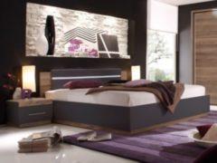 Bett 180 x 200 cm mit Nako Set Columbia Nussbaum/ schwarz matt PolPower Dandy