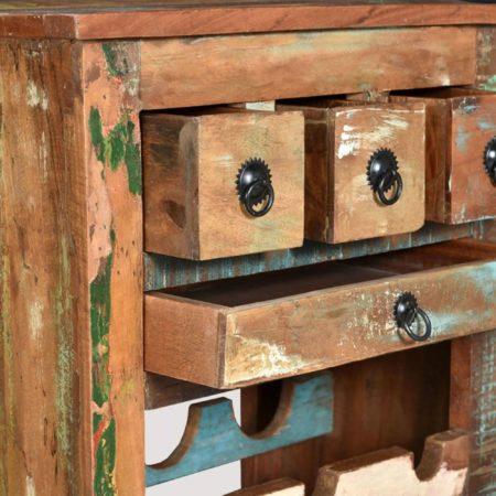 Afbeelding van Bruine VidaXL Wijnrek voor 9 flessen massief gerecycled hout