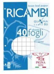 Ricambi forati Pigna - A4 - a quadretti 5 mm 5M - 40 fogli