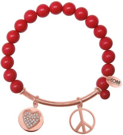 Afbeelding van CO88 Collection 8CB-50007 - Rekarmband met natuurstenen, stalen bar en bedels - Rode Zee Bamboe steen 8 mm - zirkonia hart en peace symbool - one-size - rood / rosékleurig
