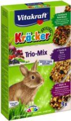 Vitakraft Trio Mix honing/spelt-popcorn/honing-bosbes/vlierbes-cräcker dwergkonijn 3-in-1