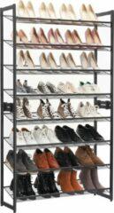Grijze Songmics Schoenenrek Met 8 Niveaus - Voor 40 Paar Schoenen – Schoenenkast Verstelbaar