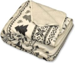 Witte Unique Living Wonderful Fleece Plaid - 100% Polyester - 130x160 Cm - White