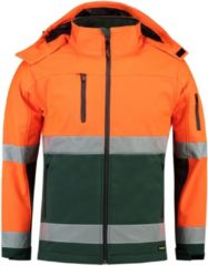 Groene Tricorp Soft Shell Jack EN471 bi-color - Workwear - 403007 - fluor oranje / groen - Maat S